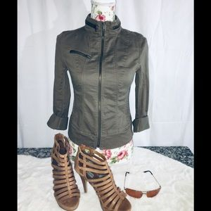 Express Denim Jacket W/ Convertible Sleeves Sz 0
